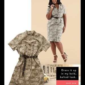 Ashley Stewart camoflage shirt dress